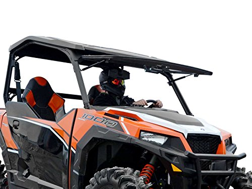 SuperATV Heavy Duty Scratch Resistant 3-IN-1 Flip Windshield for Polaris General 1000 (2016+) / General 4 (2017+) - Hard Coated for Long Life and Extreme Durability - 3 Different Settings!