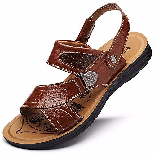 Männer Sandalen Männer Sommer Echtleder Strand Schuh Freizeit Schuh Trend Das neue Leder Dicker Boden Rutschfest Sandalen Männer Schuh ,braun ,US=9.5,UK=9,EU=43 1/3,CN=45