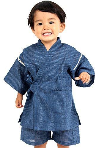 KOMESICHI Boy's Japanese Jinbei Kimono Shijira (Blue, 3T)