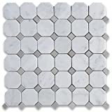 #6: Carrara White Italian Carrera Marble Octagon Mosaic Tile Gray Dots 2 inch Honed