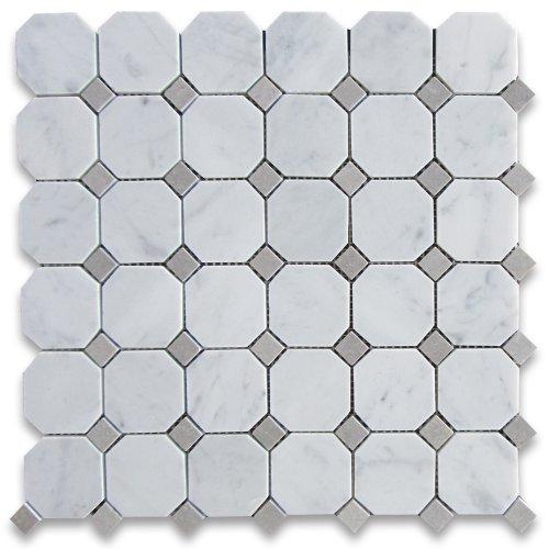 Carrara White Italian Carrera Marble Octagon Mosaic Tile Gray Dots 2 inch Honed ()