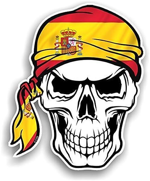 CTD – Adhesivo de vinilo, diseño de calavera con bandana de bandera de España, 100 x 120 mm: Amazon.es: Coche y moto