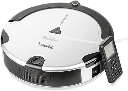 Fakir RS 701 | Robert L Robot Aspirador, Separador de Espacios, función de Limpieza de Polvo, detección de escaleras, etc. Carga, Alfombra y Suelos Duros, Mando a Distancia, 24 W, 45 W,