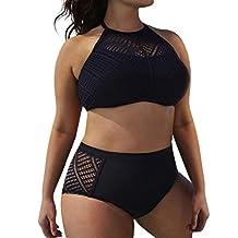 Kimloog Womens Plus Size Hollow Out Backless Lace Halter Beach Bikini Set High Waist Swimsuits (XL, Black)