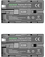 Neewer (2Pack) 7.4V 2600mAh Rechargeable Li-ion Battery Pack remplacement pour Sony NP-F550 / 570/530, Compatible avec Handycams Sony, Neewer Nanguang CN-160, CN-216, CN-126 Series LED et Chromo Inc., Polaroid Autres LED sur l'Appareil Photo Torches Vidéo Utilisation de NP-F550 Batteries