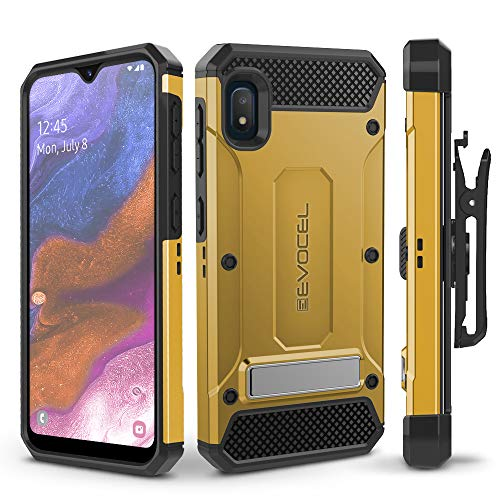 Evocel Galaxy A10E Case Explorer Series Pro with Glass Screen Protector and Belt Clip Holster for The Samsung Galaxy A10E, Gold