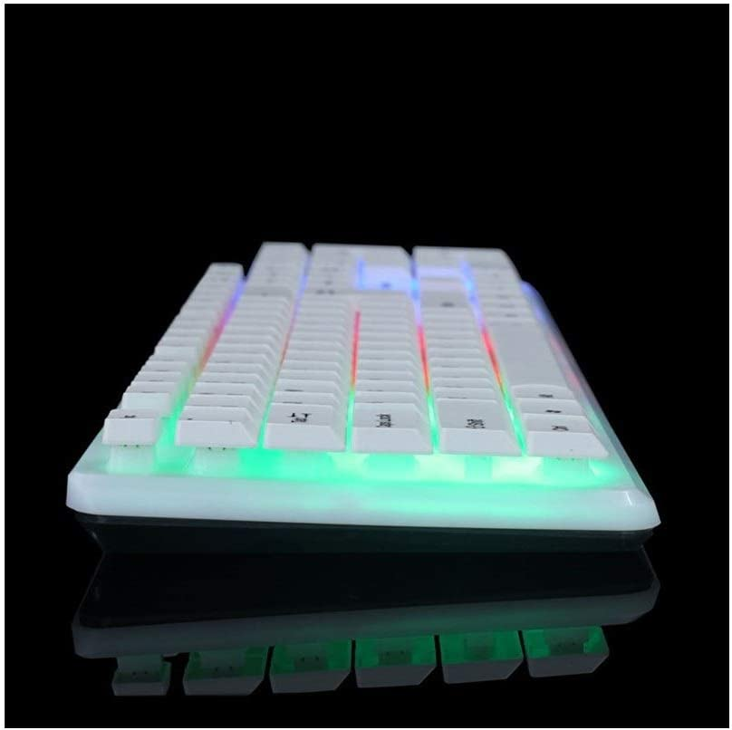 Color : White GUODLIN Illuminated Floating Button Mechanical Hand Keyboard Competitive Wired USB Keyboard Black//White