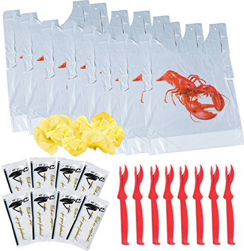 Lobster Bibs, Seafood Cracker Sheller Set, Hand Towels, and Lemon Juice Filter Nets (8 Each Item) - Complete Party Supplies Kit - Disposable Plastic Bib for Adults (Set of 8 Each) ()