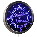 ADVPRO nc0308-b Cocktails & Dreams Bar Wine Neon Sign LED Wall Clock