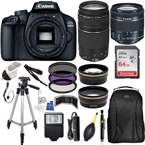 Canon EOS 4000D (Rebel T100) Digital SLR Camera w/ 18-55MM DC III Lens Kit (Black) with Canon EF 75-300MM Lens Professional Accessory Bundle Package Includes: SanDisk 64gb Card + 50'' Tripod and More