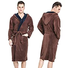 Hooded Herringbone Men's Brown Soft Spa Bathrobe with Navy Blue Shawl Collar