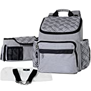 Backpack Diaper Bag Set - Stylish Gray and Black, Baby to Toddler, Nappy Bag with Stroller Organizer, Changing Pad and Removable Straps – Durable and Large for Mom and Dad by Miluna Bay