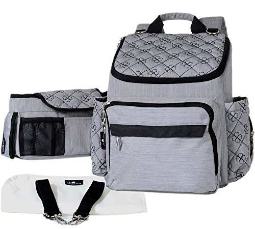 Backpack Diaper Bag Set - Stylish Gray and Black, Baby to To