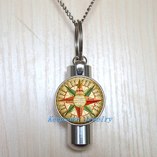 Antique Wind Rose compass Urn Necklace Jewelry - Rose compass Cremation Necklace Jewelry - Ashes Necklace Jewelry - Memorial Jewelry,Cremation souvenir,Memorial Urn,funeral locket-a0224 (Urn Rose Antique)