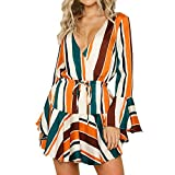 JESPER Womens Daily Irregular Stripe Bow tie Evening Party Fashion Club Flare Sleeve Midi Dress US4/6 Multicolor