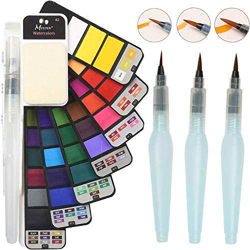 MEEDEN Artist Watercolors Set of 42 Colors with 4 Water Brush Pens - Foldable Portable Travel Kit for Plein Air, Field & Outdoor Painting, Nice Gift for Kids or Adults