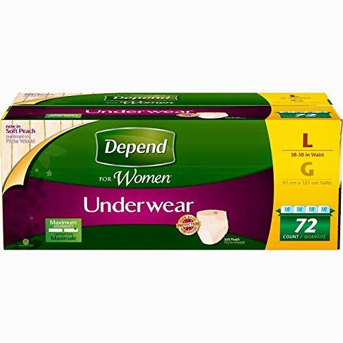 Depend Women Maximum Absorbency Underwear Large, 72-Count