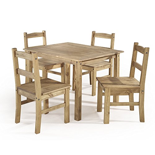 Manhattan Comfort York Collection Reclaimed and Modern 5 Piece Pine Wood Dining Set with 4 Chairs and 1 Table, (Outdoor Pine Dining Chair)