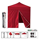 Eurmax Basic 8x8 Pop up Canopy Instant Outdoor Party Tent Shade Gazebo+4 Removable Zipper End Sidewalls (Red, 8x8)