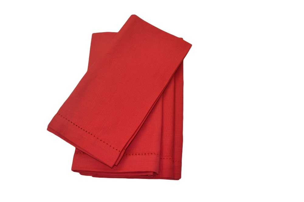 Christmas Tablescape Décor - Red hemstitch cotton dinner napkins - Set of 12