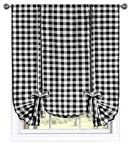 GoodGram Buffalo Check Plaid Gingham Custom Fit Window Curtain Treatments Assorted Colors, Styles & Sizes (Tie Up Shade, - Black Curtain White