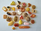 bread beads - AMOBESTER Mixed Food Cabochons Flatback Resin Embellishments 30Psc All Bread Serial