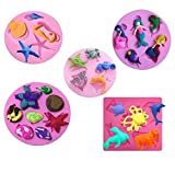 ?set of 5?Mini Sea Creatures Summer Beach Theme Silicone fondant mold Chocolate Mold for Sugarcraft, Cake Decoration, candy mold ,Cupcake Topper, Polymer Clay, Crafting Projects