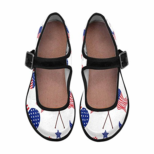 InterestPrint Flats Walking Mary 8 Multi Shoes Womens Jane Comfort Casual wqfvOw
