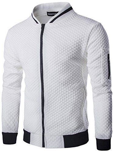 HOP FASHION Mens Casual Long Sleeve Baseball Collar Diamond Design Zipper Up Jacket Elastic Hem Lightweight Sport Cotton Coat With Pockets HOPM035-White-XL by HOP FASHION