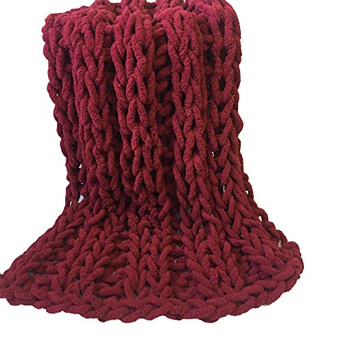Chunky Knit Vegan Blanket,Chunky Chenille Yarn,Arm Knit Blanket,59x71in Giant Knit Throw New Year Gift by FAU-Hand Knit Blanket (Image #2)