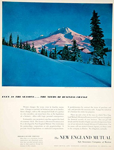 1951 Ad New England Mutual Life Insurance Banking Finance Mt Hood OR Art YFT6 - Original Print Ad from PeriodPaper LLC-Collectible Original Print Archive