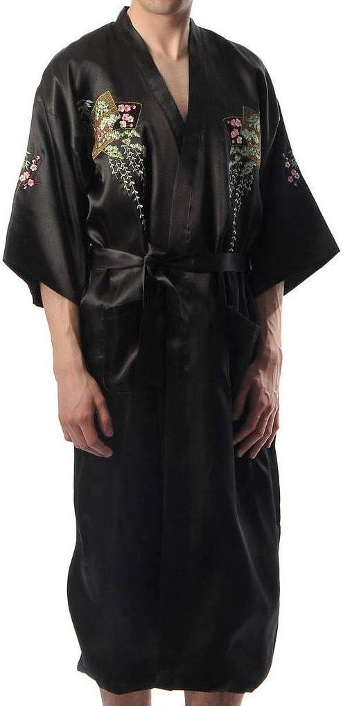 Shanghai Tone® Xanadu Kimono Bath Robe Sleepwear Black One Size ...