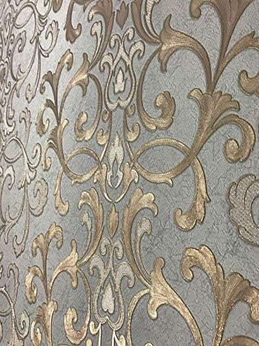Gris 3D Damasco Victoriano Papel Pintado En Relieve Rollo Decoraci/ón Para El Hogar Sala De Estar Dormitorio Revestimientos De Pared Papel De Pared De Lujo Floral Plateado