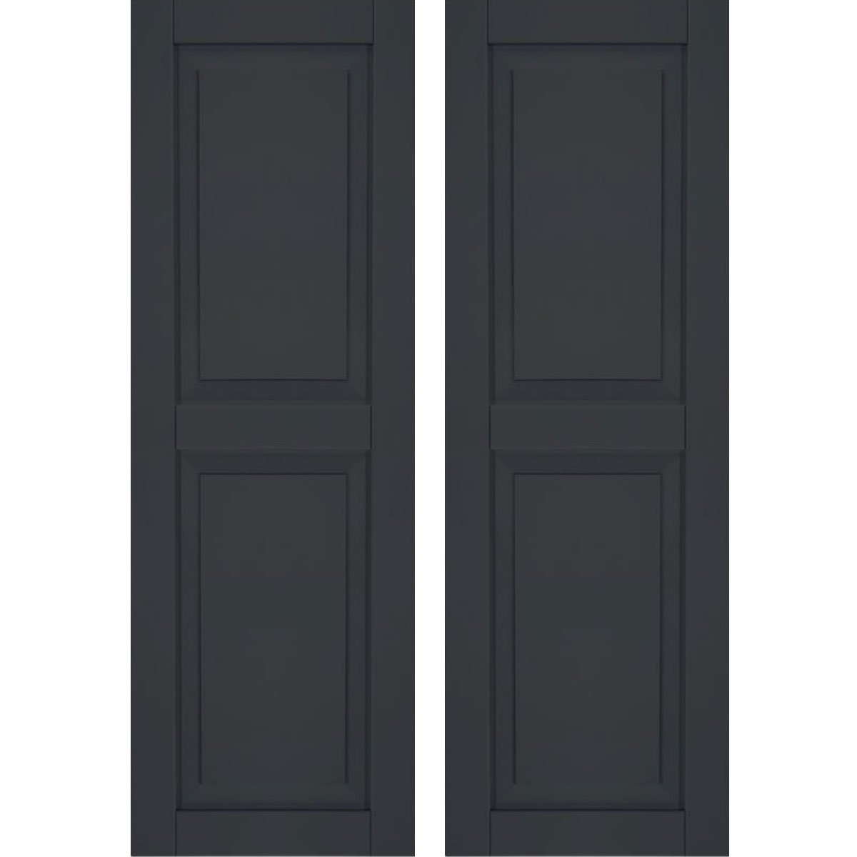 Ekena Millwork CWR15X064BLC Exterior Composite Wood Raised Panel Shutters with Installation Brackets (Per Pair), Black, 15''W x 64''H by Ekena Millwork
