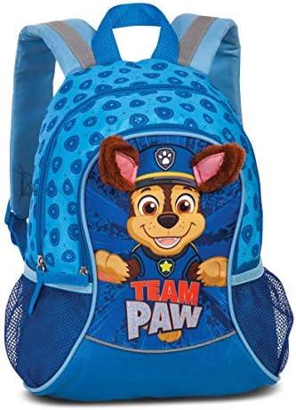 Paw Patrol kleuterschoolrugzak jongenskinderrugzak voor jongens van 36 jaar met afstaande stoffen buizen en Chase motief van Paw Patrol Team Paw35 cm x 27 cm x 15 cm 6 l blauw