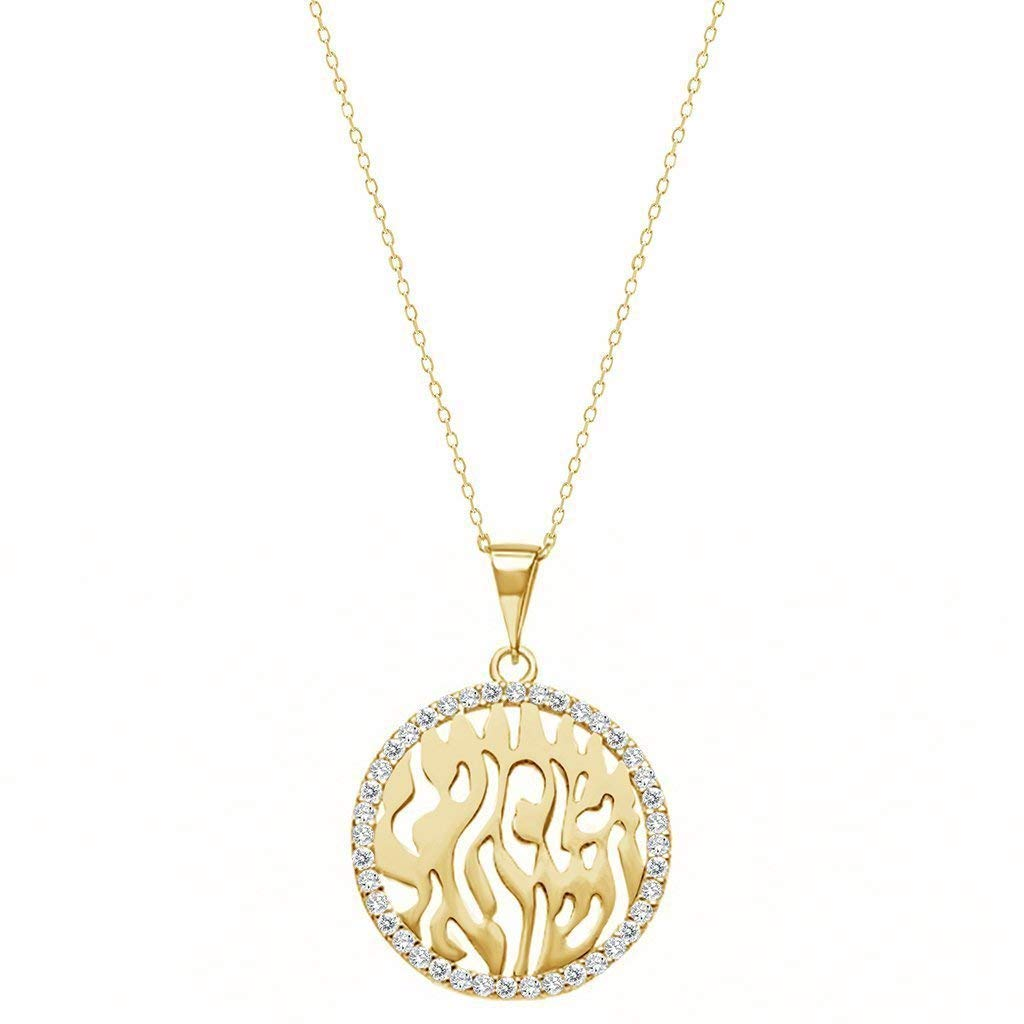 14K Yellow Gold Cubic Zirconia CZ Girl Prayer Religious Charm Pendant For Necklace or Chain