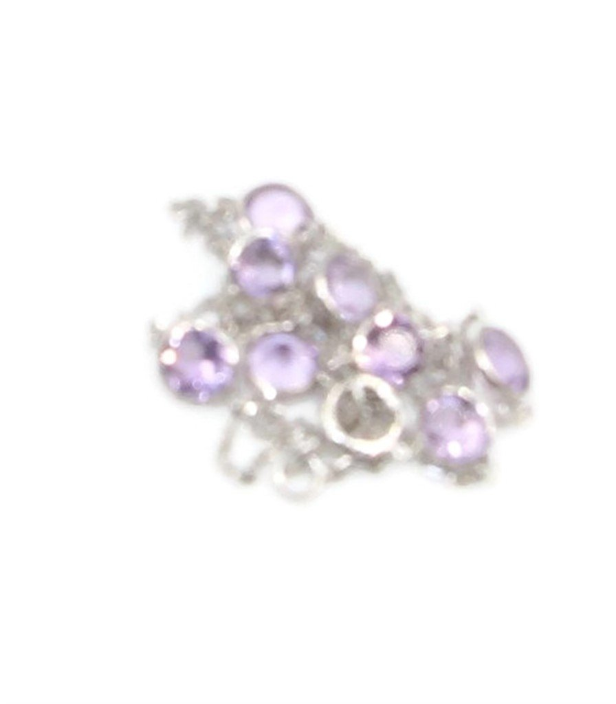 Amethyst Gemstones 10'' Anklet 14k White Gold Chain & Extension by Sophia Fine Jewelry (Image #2)