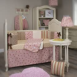 Glenna Jean Doodle Bug Girl's 4 Piece Crib Set, Pink/Brown