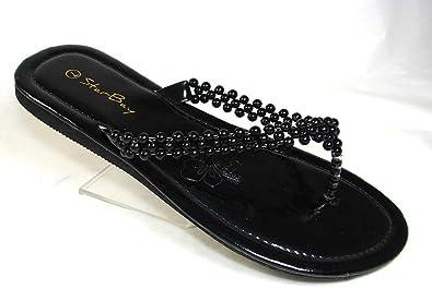 261fbe620ec Brand New Starbay Women s Black Beaded EVA Sandals
