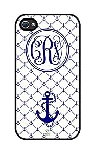 iZERCASE Monogram Personalized Navy Blue Anchor Pattern rubber iphone 4 case - Fits iphone 4 & iphone 4s T-Mobile, Verizon, AT&T, Sprint and International (Black) Kimberly Kurzendoerfer