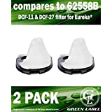 2 Pack For Eureka DCF-11 & DCF-27 Allergen Dust Cup Filter for Hand Vacuum Cleaners (compares to 62558B). Genuine Green Label product.