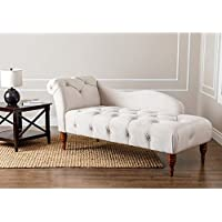 Abbyson Living Charlotte Tufted Velvet Chaise Lounge in Ivory