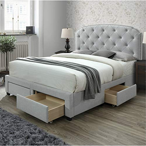 - DG Casa 12350-Q-PLT Argo Tufted Upholstered Panel Storage Bed, Queen in Platinum Fabric