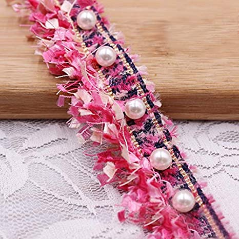 Red 1 Yard Tassel Fringe Lace Edge Multicolor Trim Ribbon with Pearl Beads 3.8cm Width Vintage Colored Edging Trimmings Fabric Embroidered Applique Sewing Craft Wedding Dress Party Clothes Decor