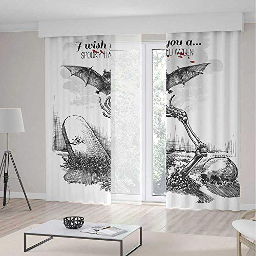TecBillion Living Room Curtains,Halloween Decorations,Living Room Bedroom Curtain,Dead Skull Zombie Out Grave and Flying Bat Hand Drawn Spooky Picture,79Wx83L Inches]()
