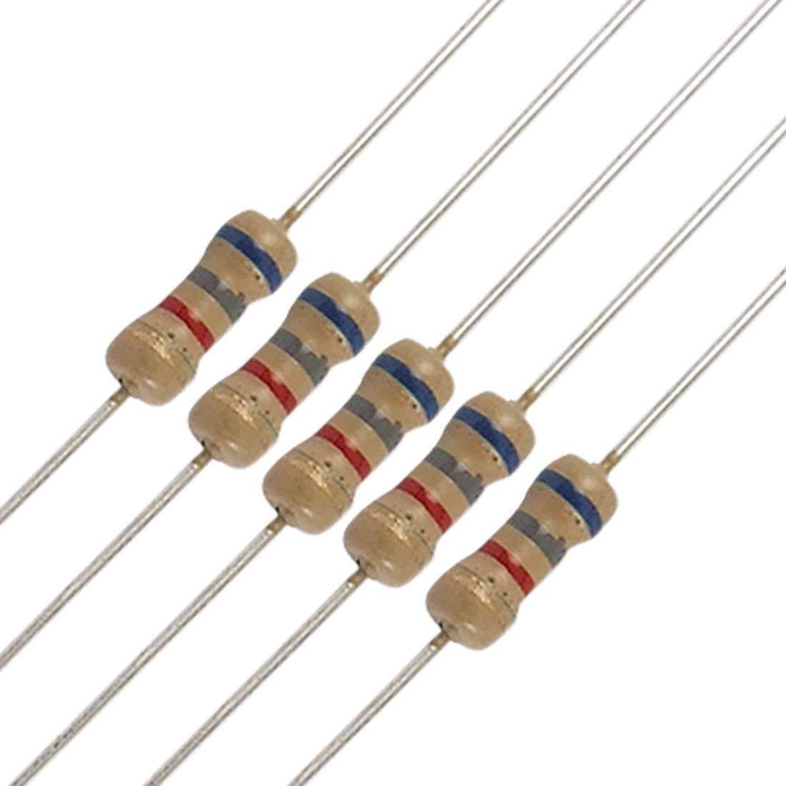 6K8 100 x 6.8k Ohm Carbon Film Resistors 1//4 Watt 5/% Fast USA Shipping