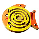Mini Round Wooden Round Magnetic Maze Puzzle Interactive Maze Magnet Beads Maze on Board Game Eduactional Handcraft Toys Fish