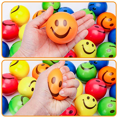 LOVESTOWN 20 PCS Face Squeeze Balls, 2.5inches Smile Squeeze Balls Face Stress Balls Stress Relief Balls for Finger Exercise School Carnival Reward Party Bag Gift