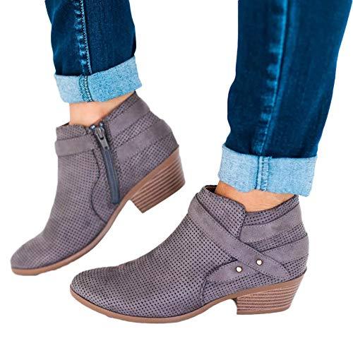 Hemlock Women Pointed Toe Ankle Booties Square Heel Work Boo