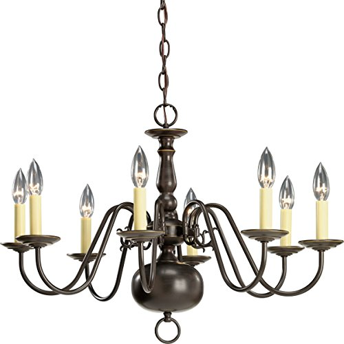 - Progress Lighting P4357-20 8-Light Americana Chandelier with Delicate Arms and Decorative Center Column and Candelabra Lamps, Antique Bronze